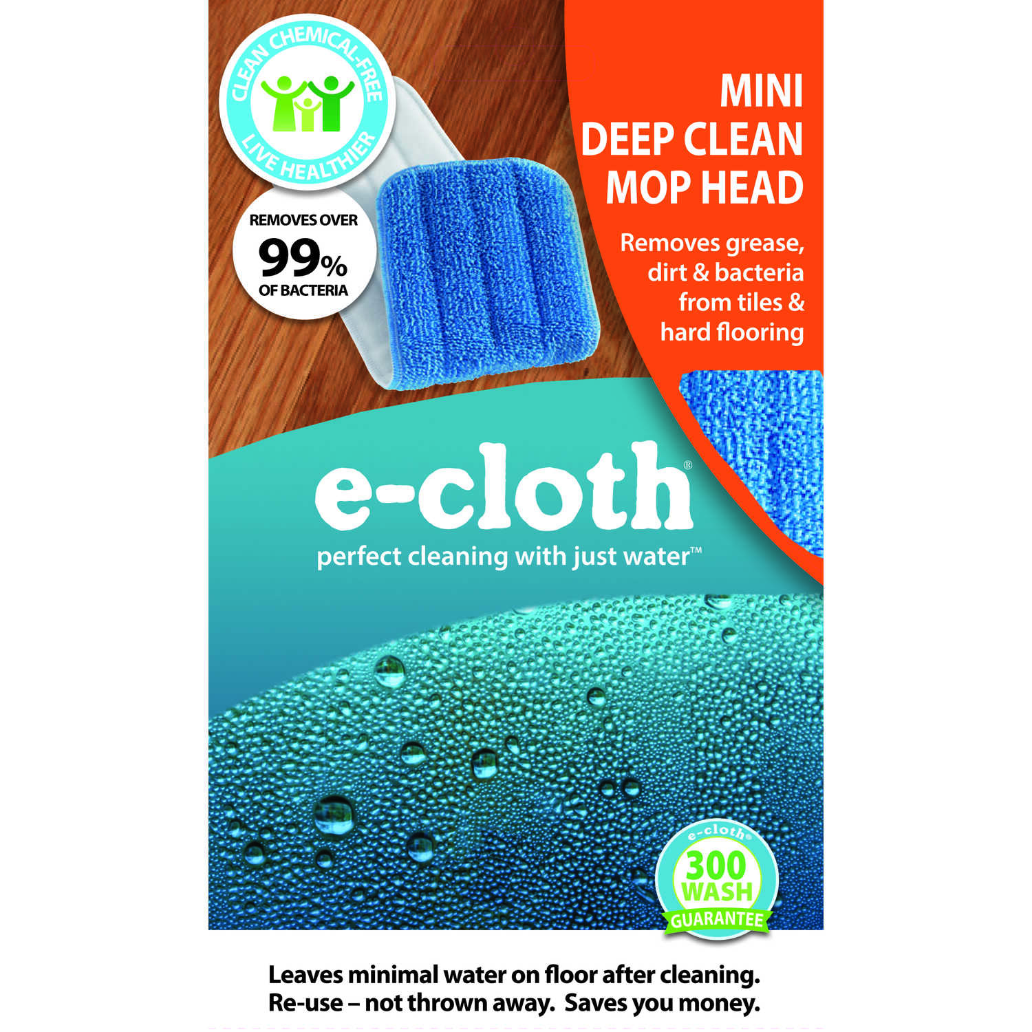 E-Cloth  Mini Deep Clean  5 in. W x 11 in. L Mop Refill  Polyester Blend  1 pk