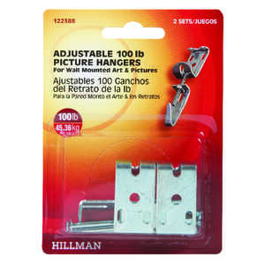 HILLMAN  AnchorWire  Metallic  Adjustable  Picture Hanger  Metal  2 pk 100 lb.