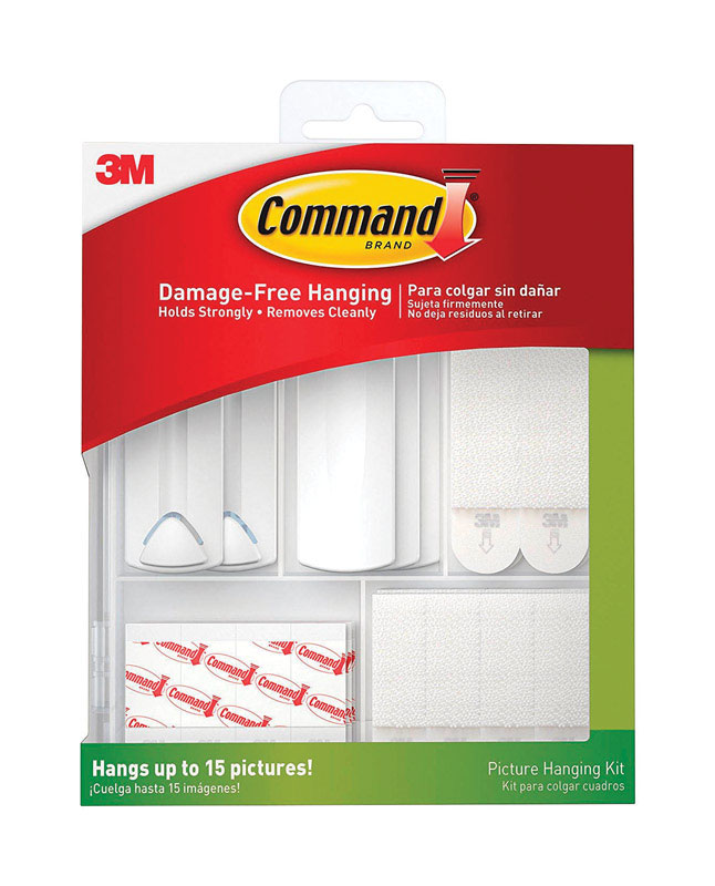 3M  Command  Assorted  White  ADHESIVE STRIPS  5 lb. 16 lb. 38 pk Picture Hanging Kit  Foam