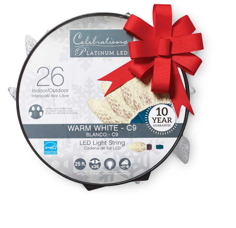 Celebrations Platinum Led C9 Light Set On A Reel White 24