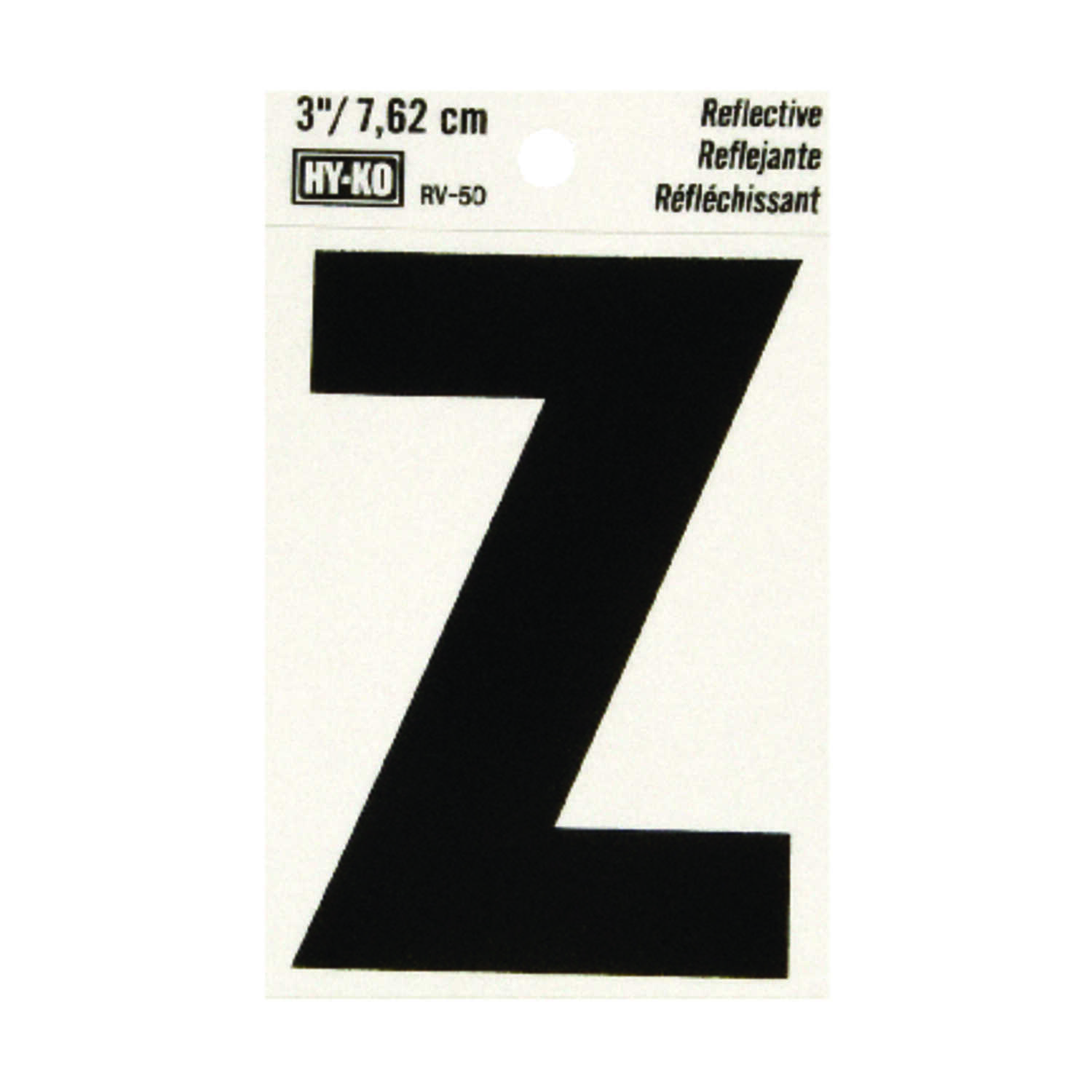 Hy-Ko  Vinyl  Black  Z  Letter  Self-Adhesive  Reflective 3 in.