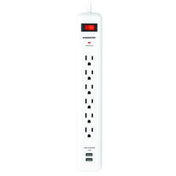 Monster  Just Power It Up  3 ft. L 6 outlets Power Strip w/Surge Protection  White