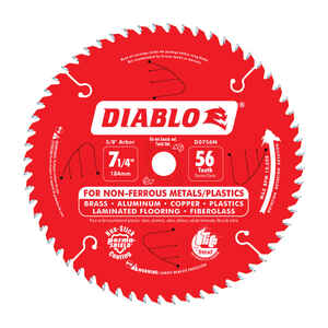 Diablo  7-1/4 in. Dia. x 5/8 in.  x 0.04 in.  Carbide Tip Titanium  Circular Saw Blade  56 teeth 1 p