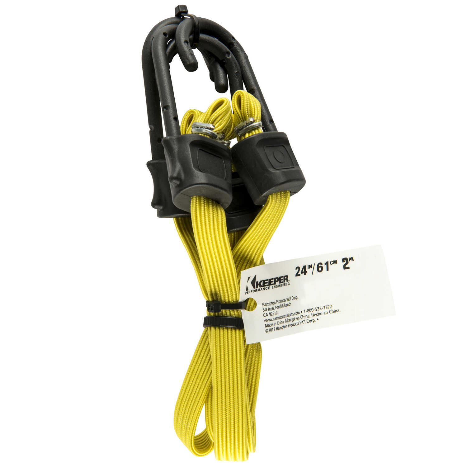 Keeper  Yellow  Flat Bungee Cord  24 in. L x 0.315 in.  2 pk