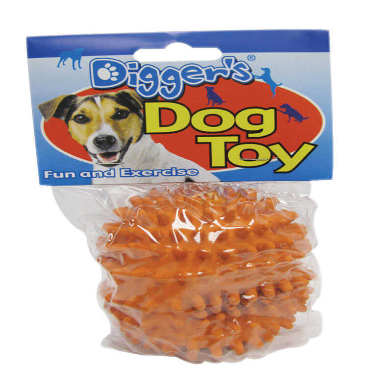 Diggers  Orange  Latex  Spiked  Medium  Ball Dog Toy
