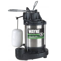 Wayne 1/3 hp 4600 gph Stainless Steel Vertical Float Switch AC Top Submersible Sump Pump