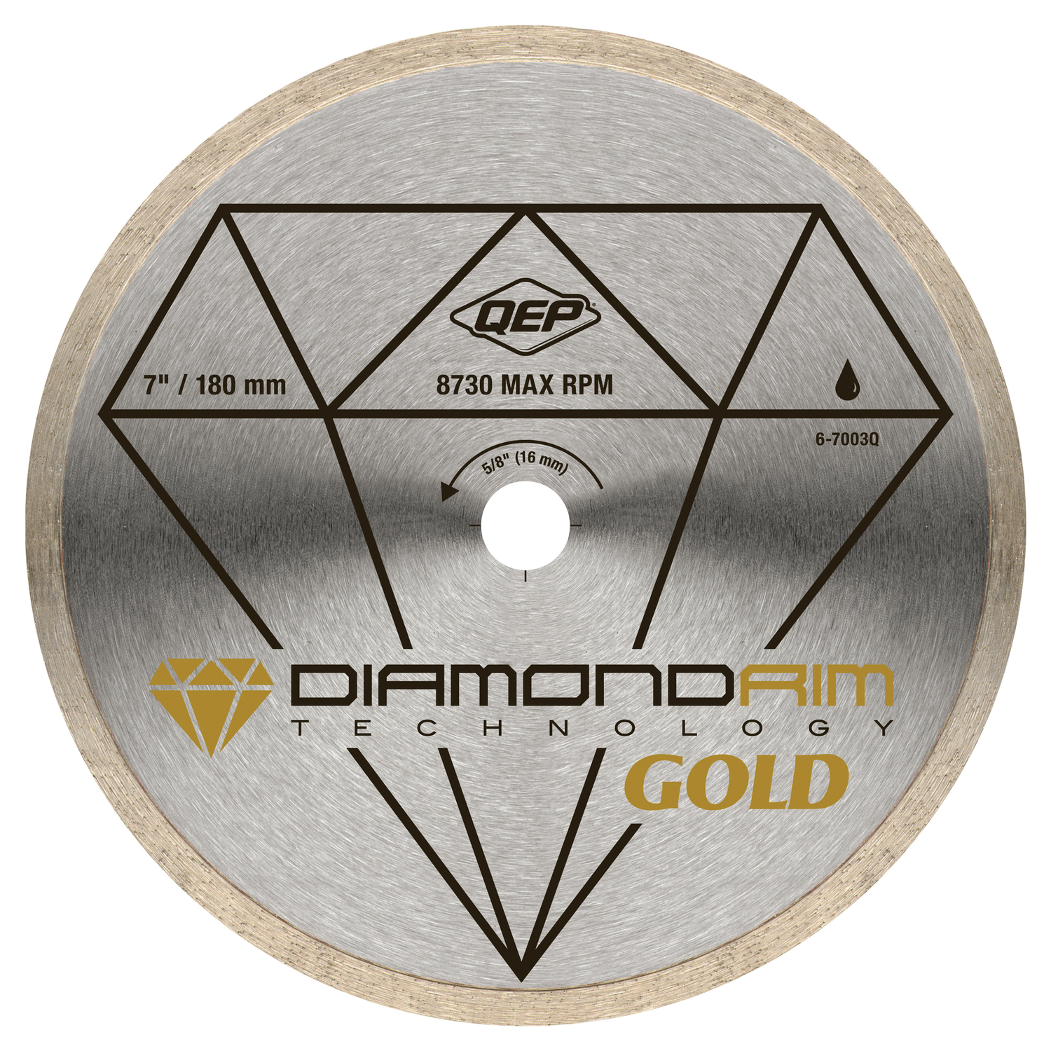 QEP  7 in.  Steel  5/8  Gold  1 pk Continuous Rim Diamond Saw Blade