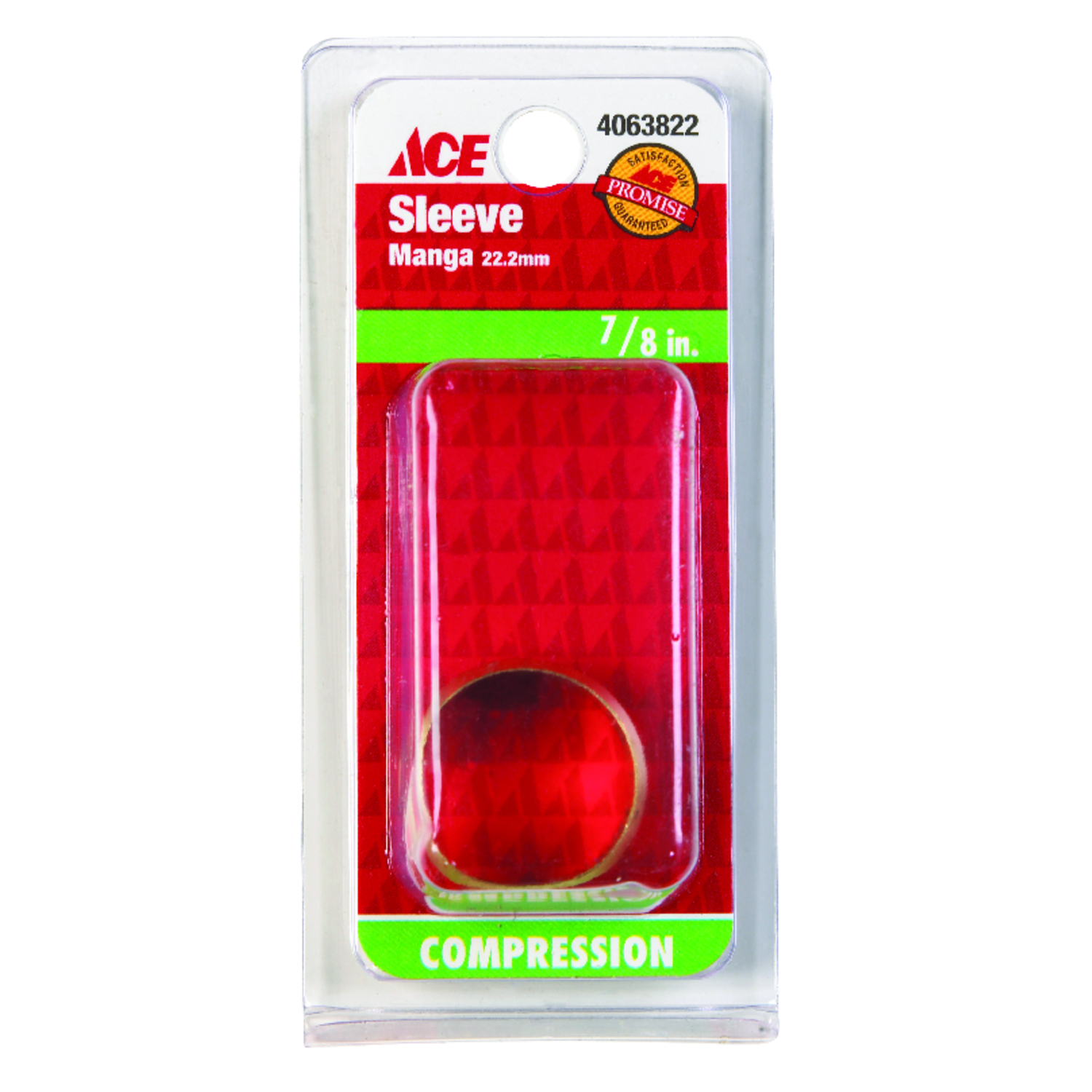Ace  7/8 in. Compression   x 7/8 in. Dia. x 7/8 in. Dia. Brass  Compression Sleeve