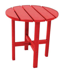 Ivy Terrace  Red  Classic  Round  Plastic  End Table