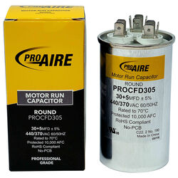 Perfect Aire ProAire 30+5 MFD 370 volt Round Run Capacitor