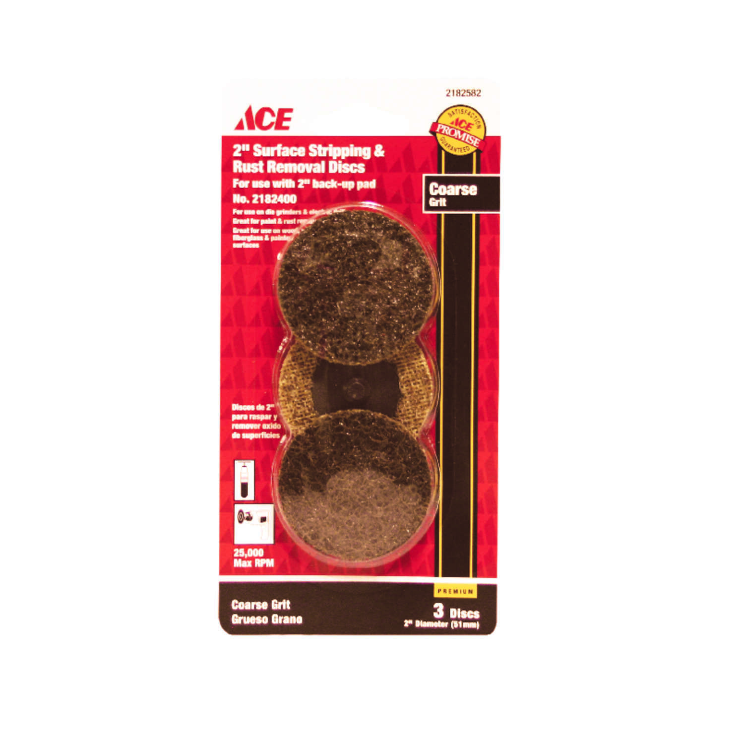 Ace  2 in. Aluminum Oxide  Twist and Lock  Surface Conditioning Disc  50 Grit Coarse  3 pk