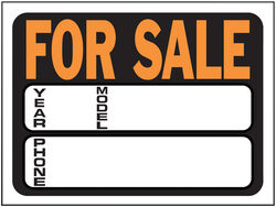 Hy-Ko Hy-Glo English Black For Sale Sign 8.5 in. H x 12 in. W