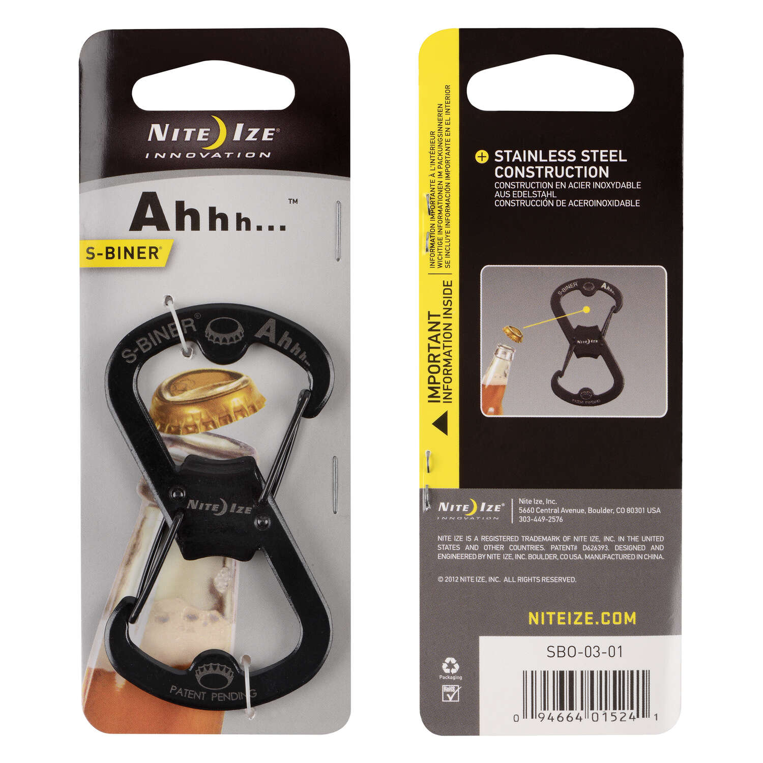 Nite Ize  S-Biner  2 in. Dia. Stainless Steel  Black  Carabiner  Key Holder