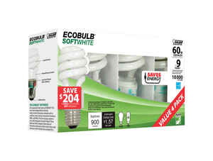FEIT Electric  ECOBULB  13 watts A19  1.86 in. Dia. x 3.6 in. L CFL Bulb  Soft White  Utility  2700