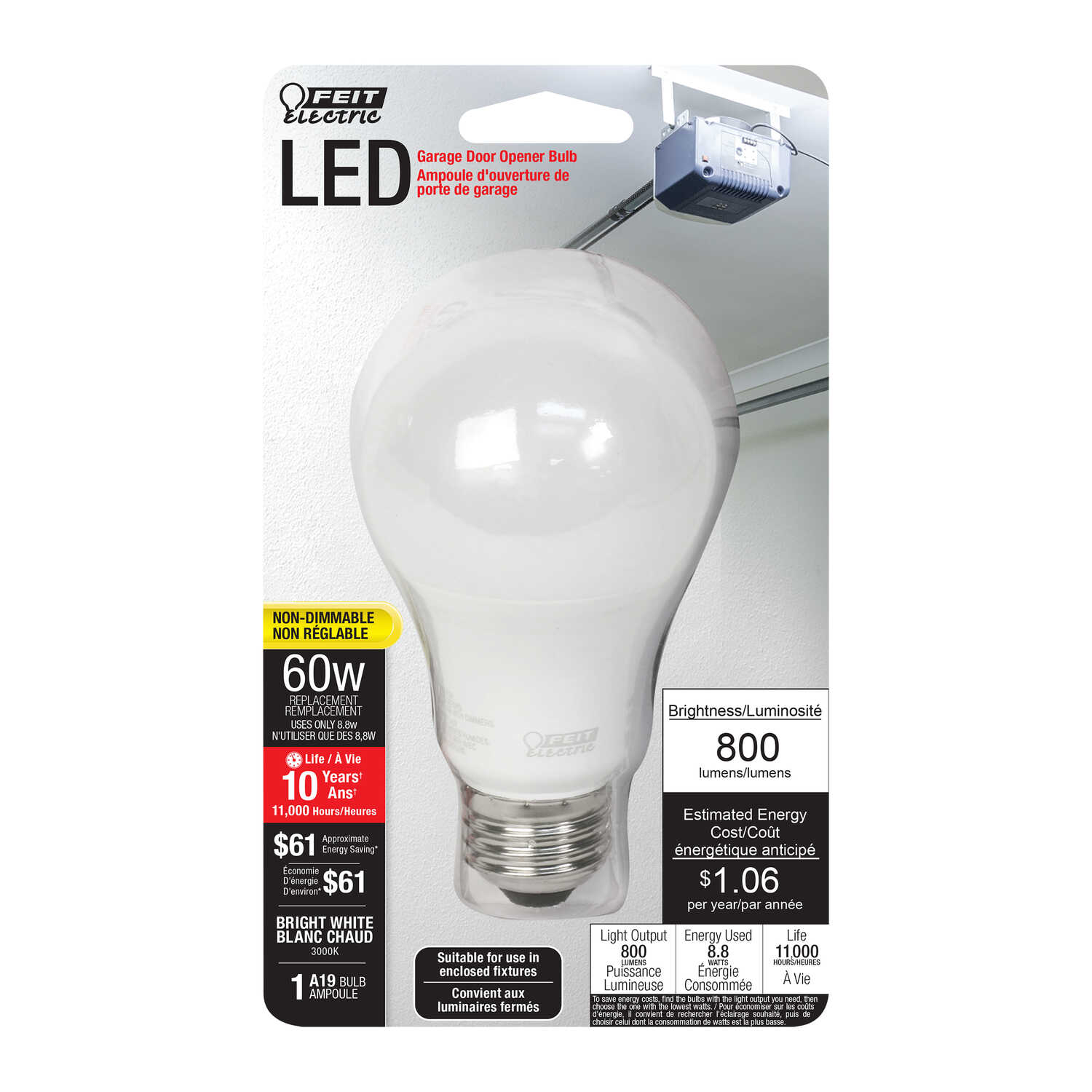 FEIT Electric  10.6 watts A19  LED Bulb  800 lumens Bright White  A-Line  60 Watt Equivalence