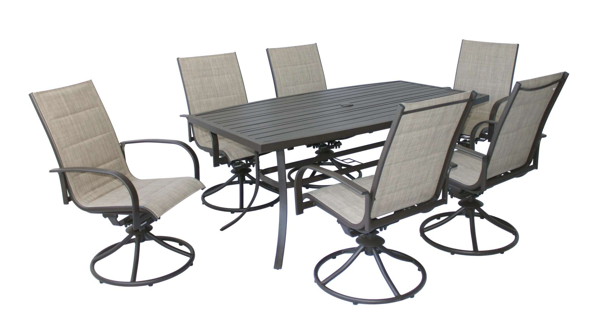 Living Accents Taylor 7-Pieces Brown Steel Dining Patio Set
