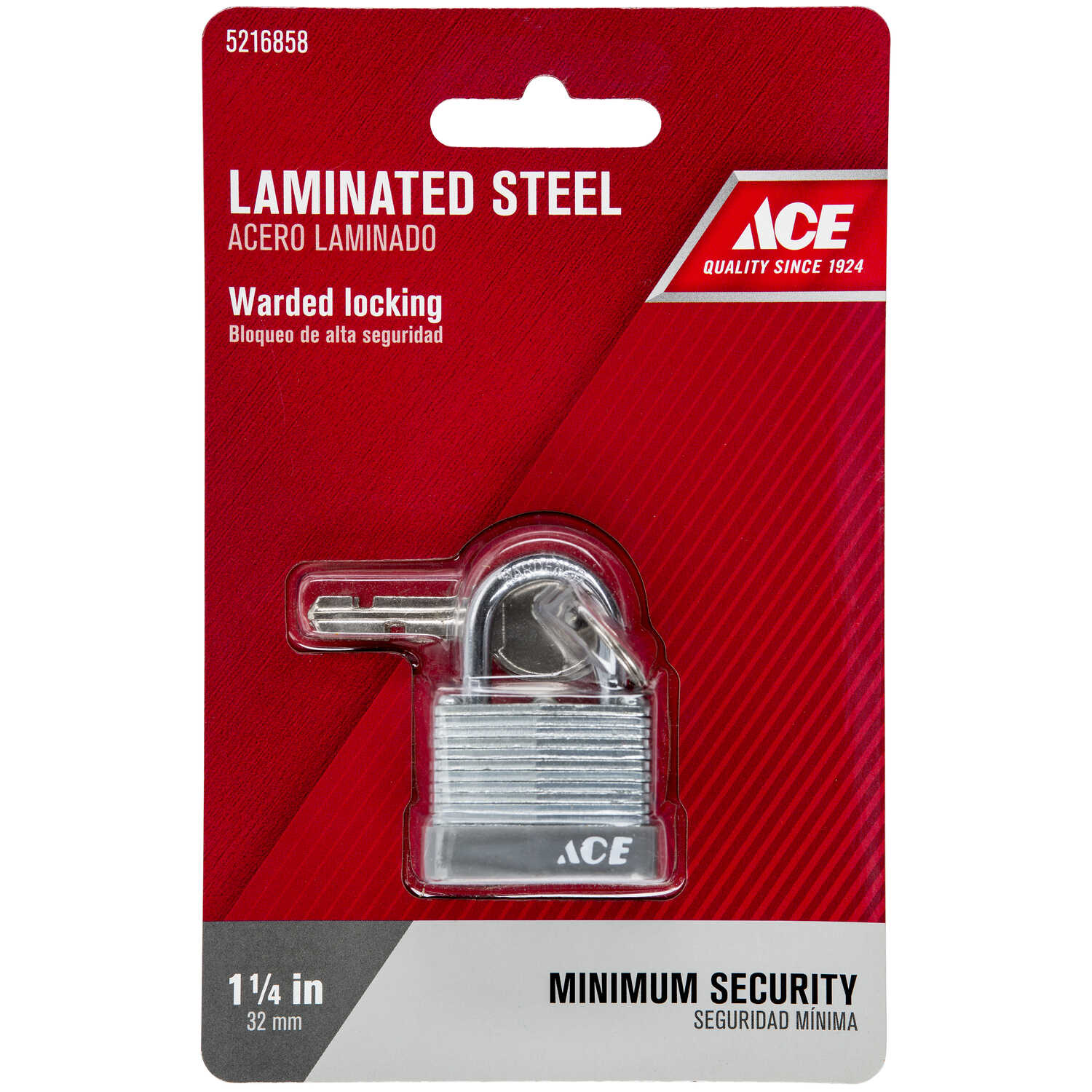 Ace  15/16 in. H x 1-1/4 in. W x 11/16 in. L Laminated Steel  Warded Locking  Padlock  1 pk