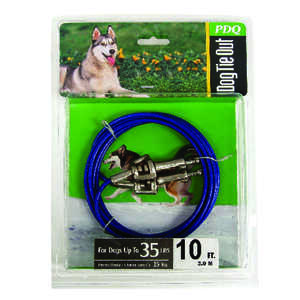 Boss Pet  Blue / Silver  Vinyl Coated Cable  Dog  Tie Out  Medium
