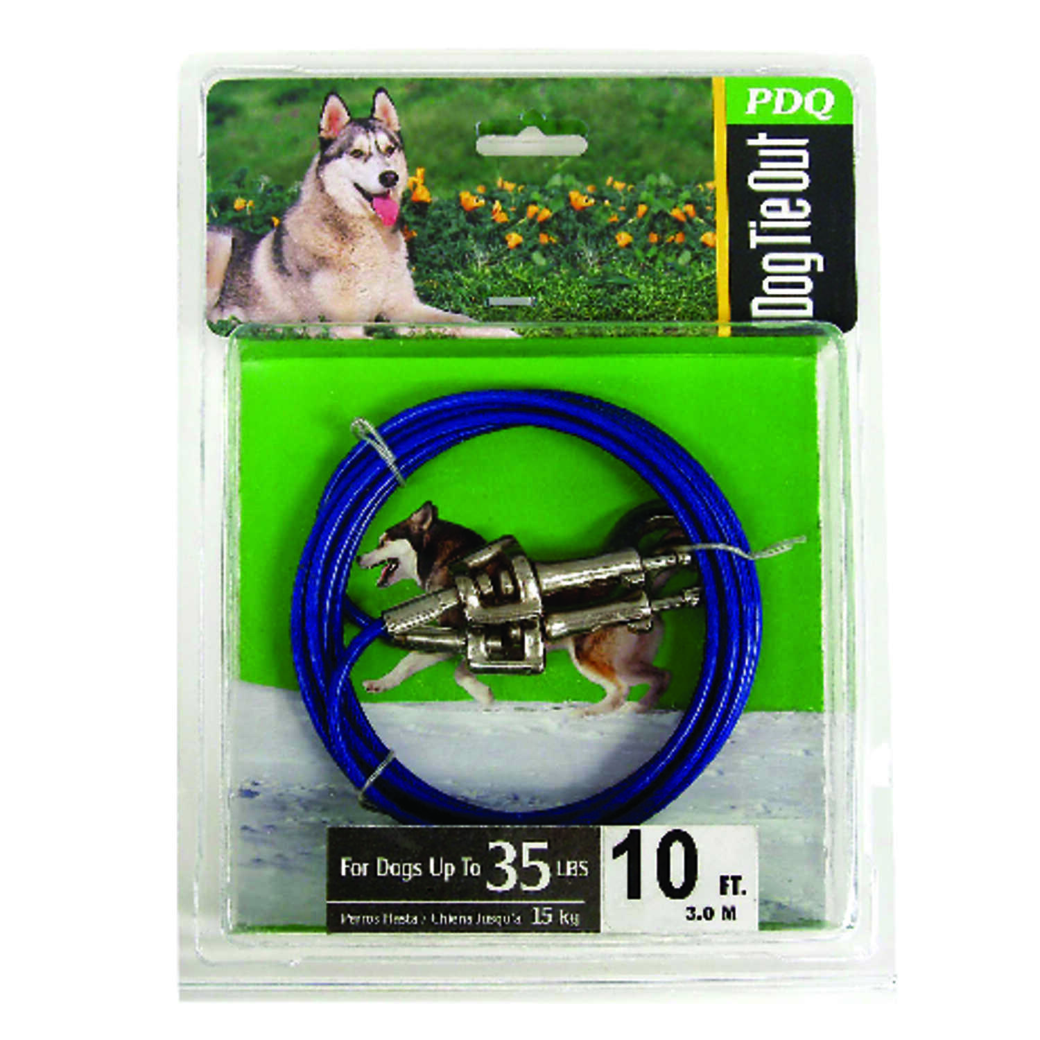 Boss Pet  PDQ  Blue / Silver  Tie-Out  Vinyl Coated Cable  Dog  Tie Out  Medium