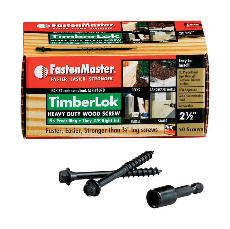 FastenMaster  TimberLok  No. 10   x 2.5 in. L Hex  Hex Head Galvanized  Steel  Wood Screws  50 pk
