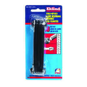 Eklind Tool  5/64 to 1/4  SAE  Fold-Up  Hex Key Set  9 pc. Multi-Size in.