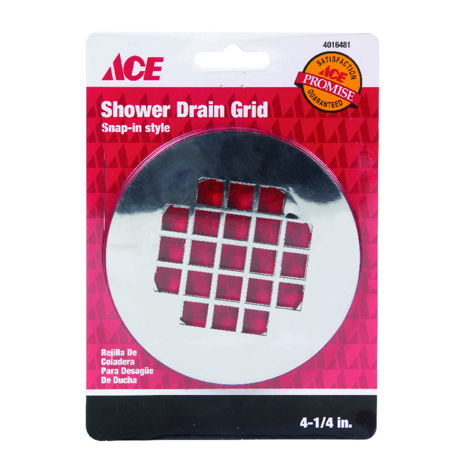 Ace  4-1/4 in. Chrome  Plastic  Snap-In Strainer
