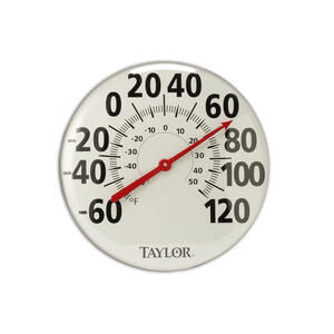 Taylor  Analog  Dial Thermometer  Metal  White
