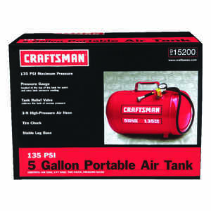 Craftsman  5 Gallon Horizontal  135 psi Air Tank