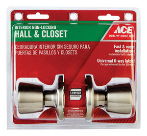 Ace  Tulip  Satin  Stainless Steel  Passage Door Knob  3