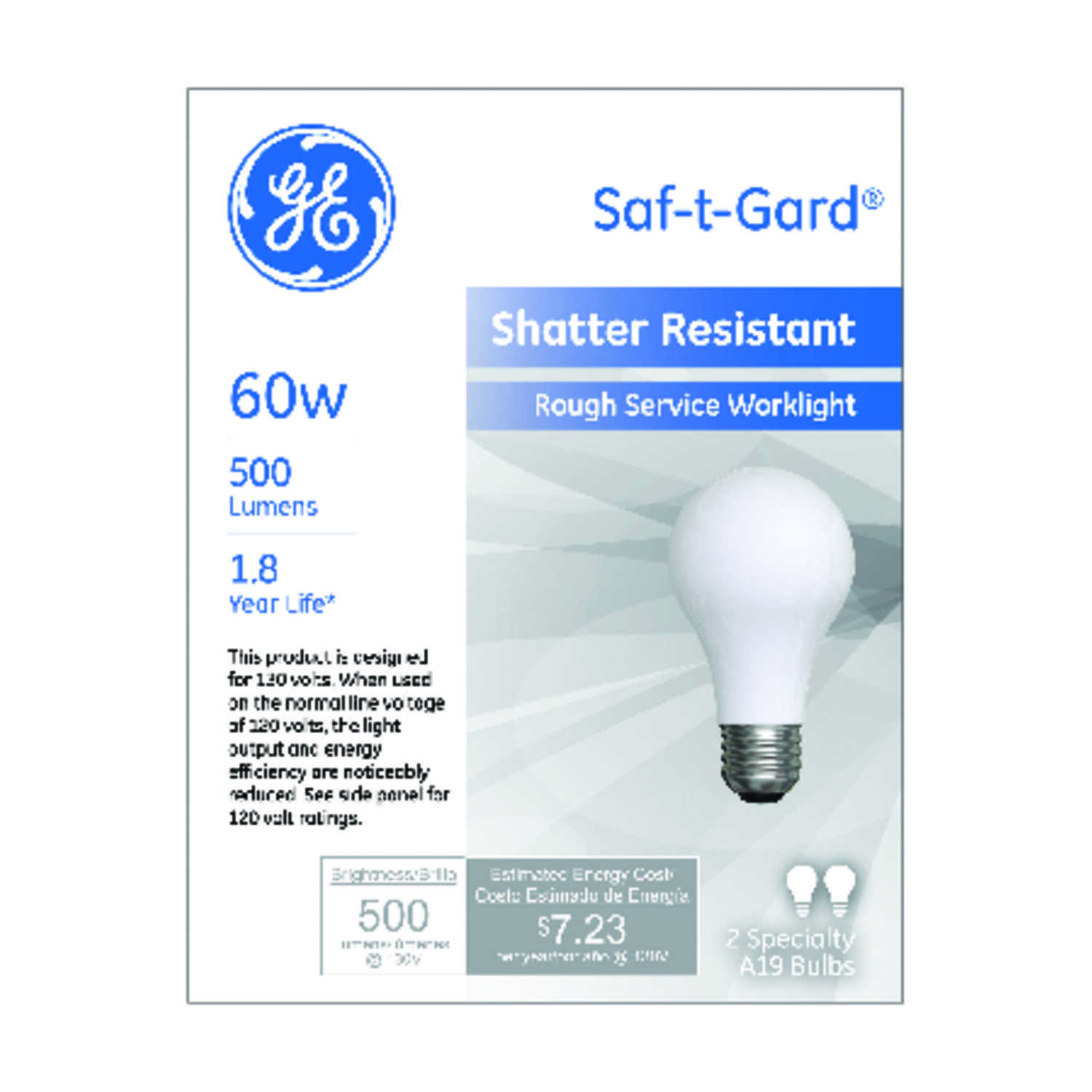 GE Lighting  Saf-T-Gard  60 watts A19  Incandescent Light Bulb  500 lumens Soft White  2 pk A-Line