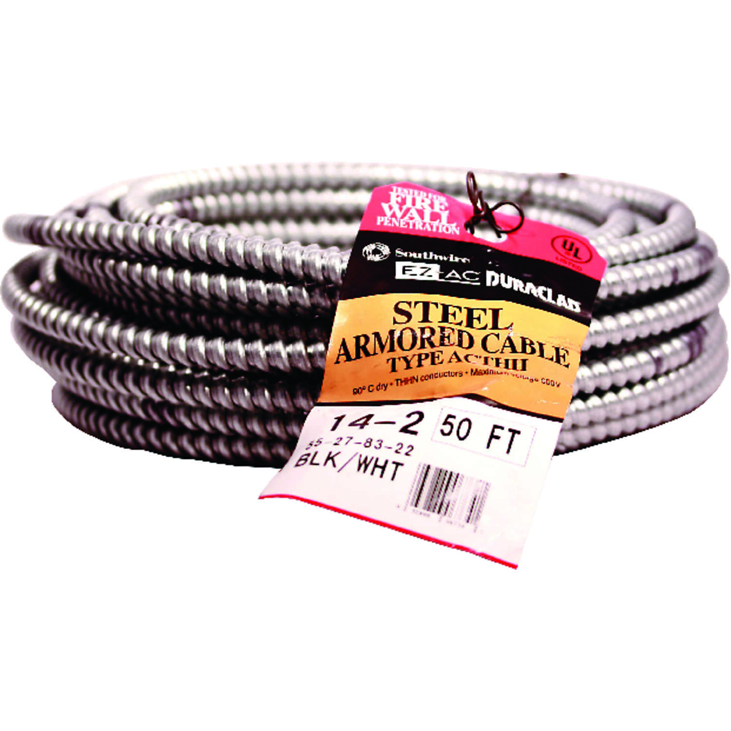 Southwire  50 ft. Stranded  Steel Armored AC  Cable  14/2