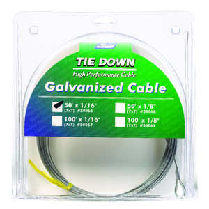 Tie Down Engineering  Galvanized  Galvanized Steel  1/16 in. Dia. x 50 ft. L Aircraft Cable