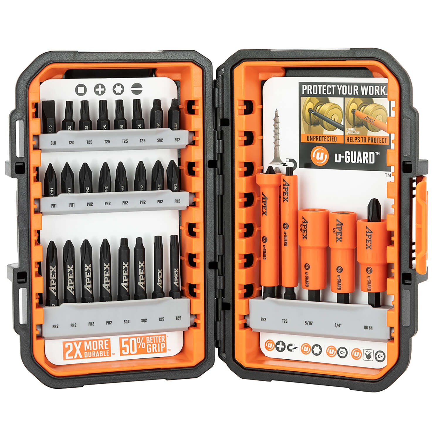Apex  u-GUARD  Drive and Fasten Bit Set  Heat-Treated Steel  30 pc.