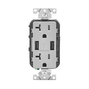 Leviton  Decora  20 amps 125 volt Gray  Outlet and USB Charger  5-20R  1 pk