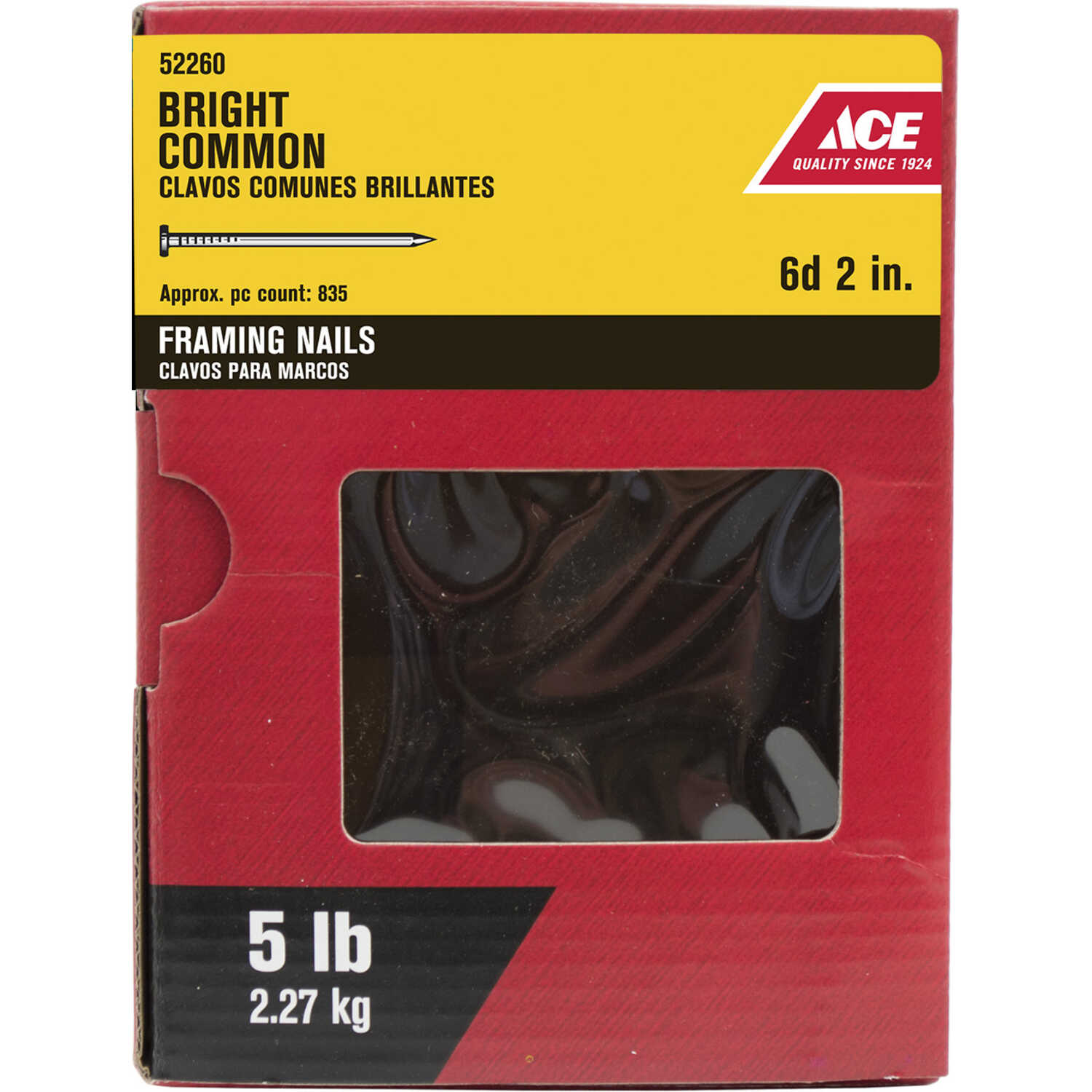Ace  6D  2 in. L Common  Steel  Nail  Round  Smooth  1  5 lb.