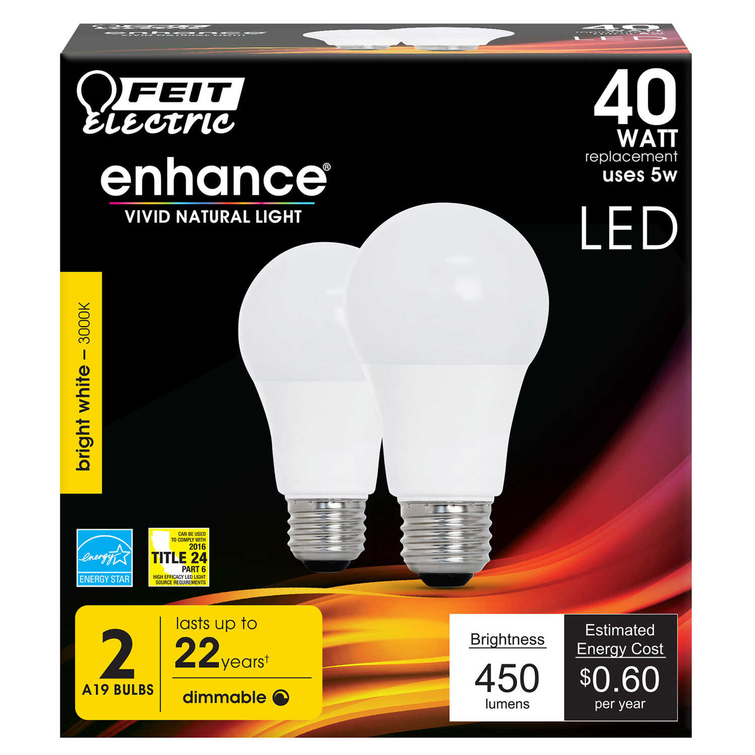 FEIT Electric  A19  E26 (Medium)  LED Bulb  Soft White  40 Watt Equivalence 2 pk