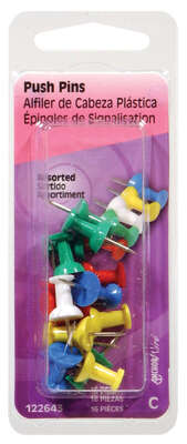 Hillman  Assorted  Push Pins  16 pk