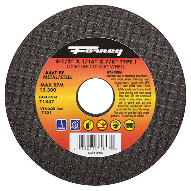 Forney  4-1/2 in. Metal Cut-Off Wheel  7/8 in.  x 1/16 in.  1 pc. Aluminum Oxide