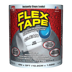 FLEX TAPE  4 in. W x 5 ft. L Clear  Waterproof Repair Tape