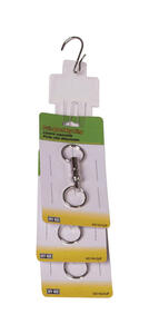 Hy-Ko  2GO  7/8 in. Dia. Metal  Silver  Pull-Apart  Key Ring