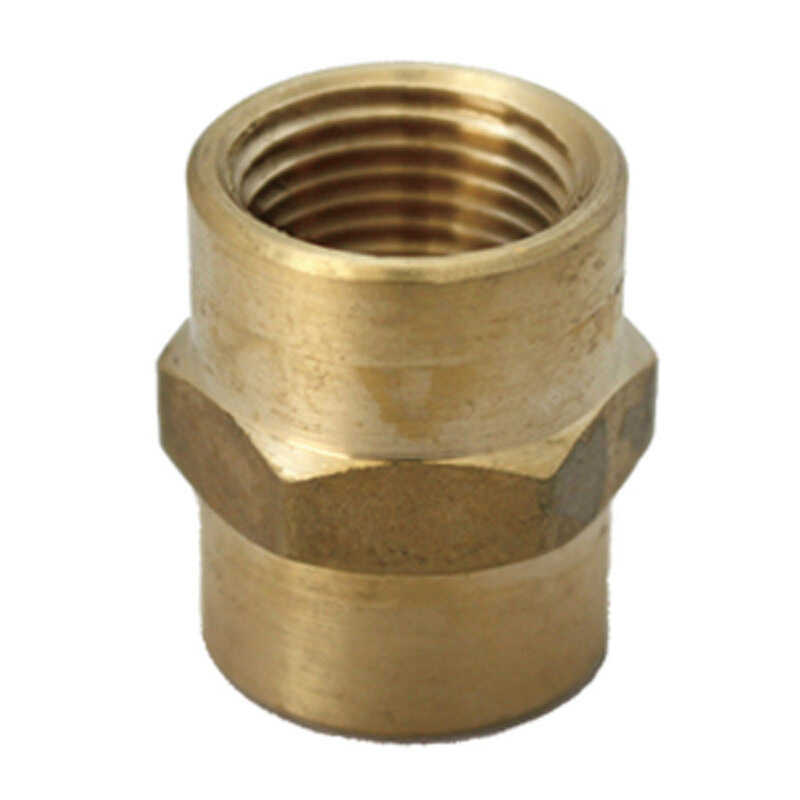 JMF  1/4 in. Dia. x 1/8 in. Dia. FPT To FPT  Yellow Brass  Reducing Coupling