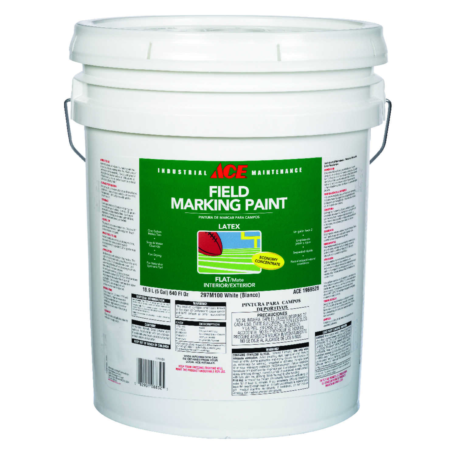 Ace  Economy  White  Field Marking Paint  5 gal.