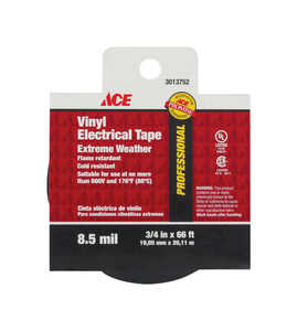 Ace  3/4 in. W x 66 ft. L Black  Electrical Tape  Vinyl