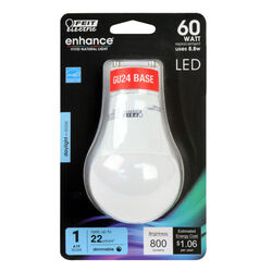 FEIT Electric  Enhance  A19  GU24  LED Bulb  Daylight  60 Watt Equivalence 1 pk