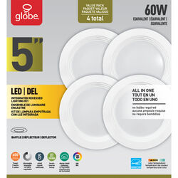 Globe Electric  Value Pack  White  5 in. W Plastic  LED  Recessed Light  60 watt