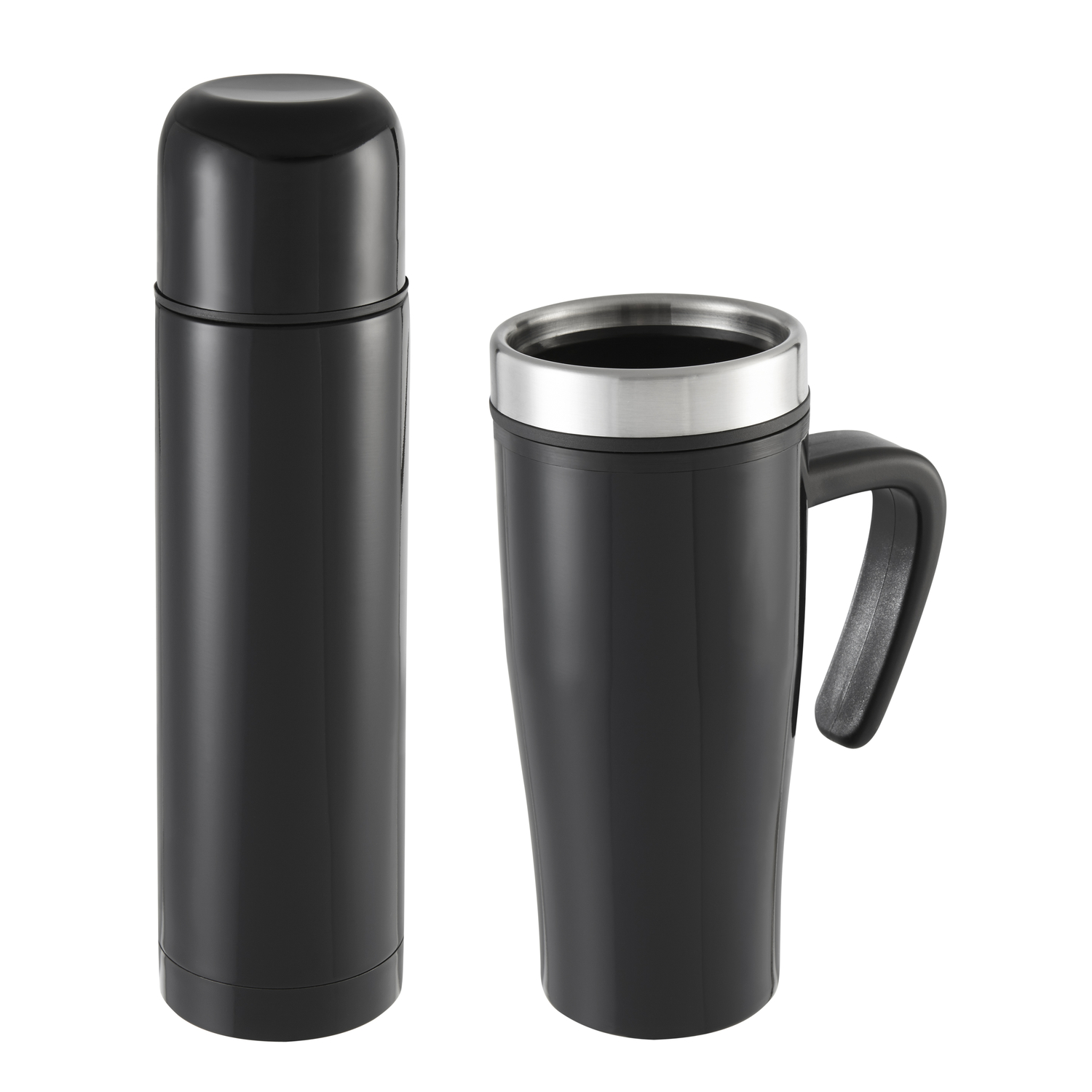 Sharper Image  Thermal Mug/Flask Set  Stainless Steel  2 pc. Black