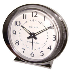 Westclox  3.5 in. Silver  Alarm Clock  Analog