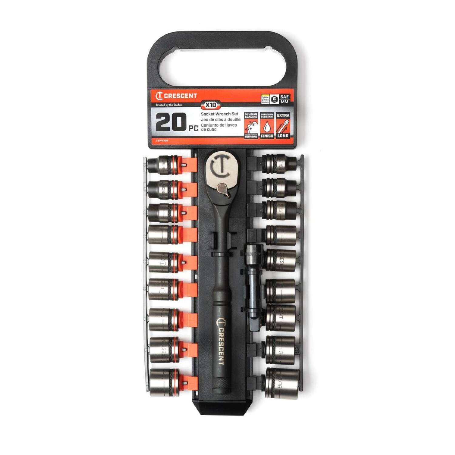 Crescent  3/8 in. drive  Metric and SAE  6 Point Socket Wrench Set  20 pc.