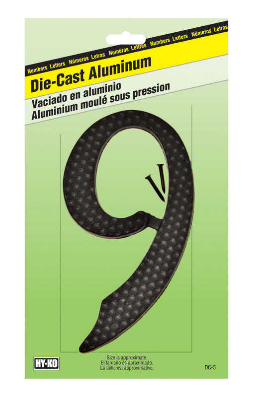Hy-Ko  4-1/2 in. Aluminum  Black  9  Number  Nail-On