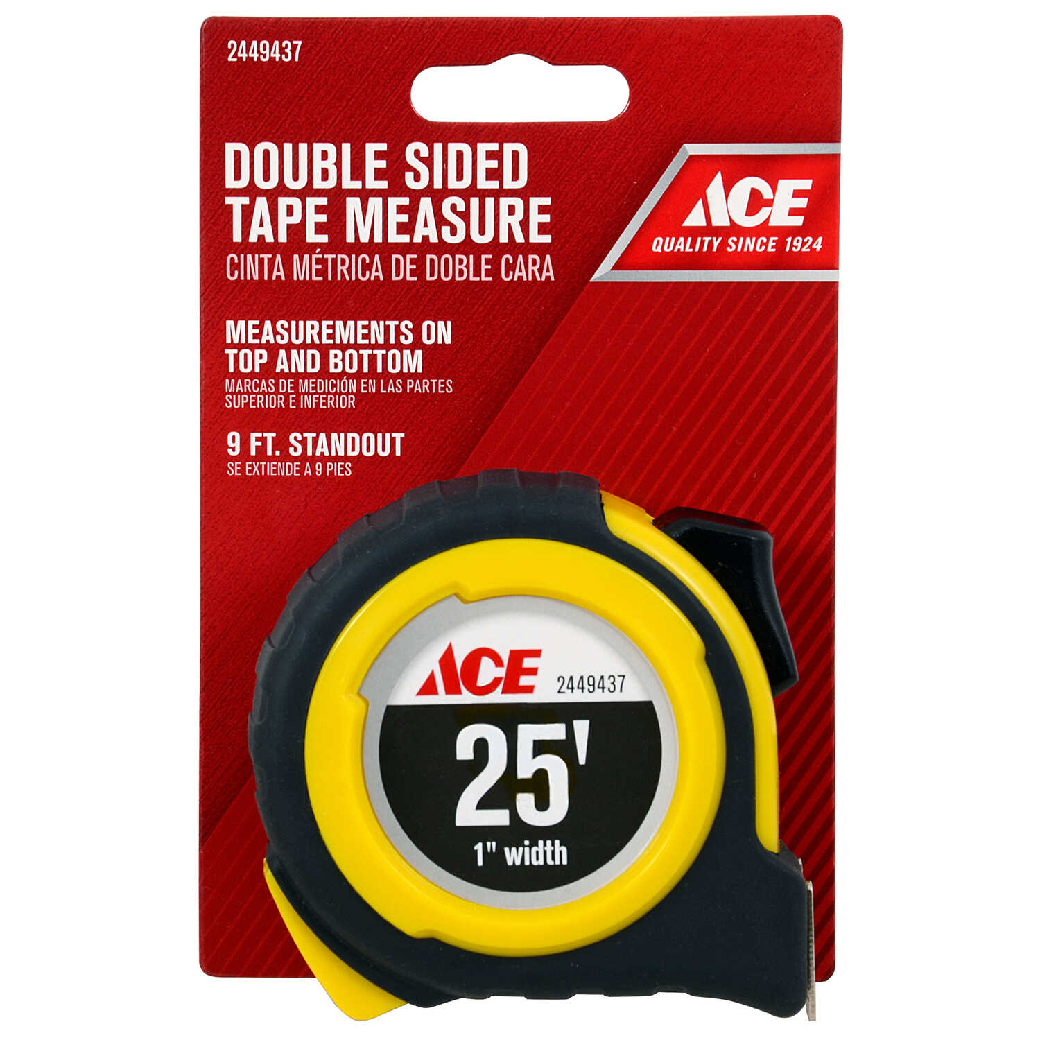 Ace  25 ft. L x 1 in. W Double Sided  Tape Measure  Yellow  1 pk